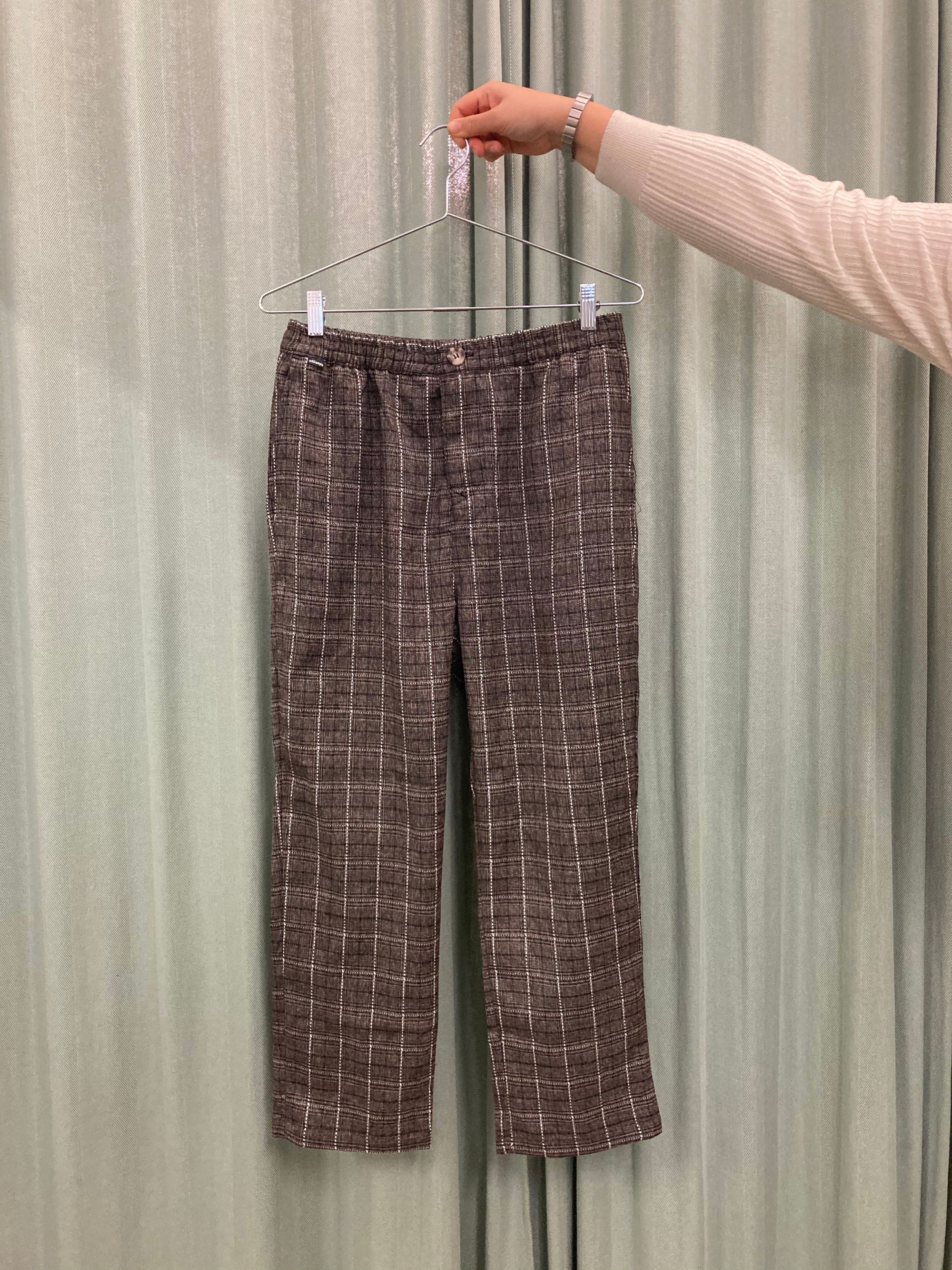 Brown Plaid Relaxed Pants