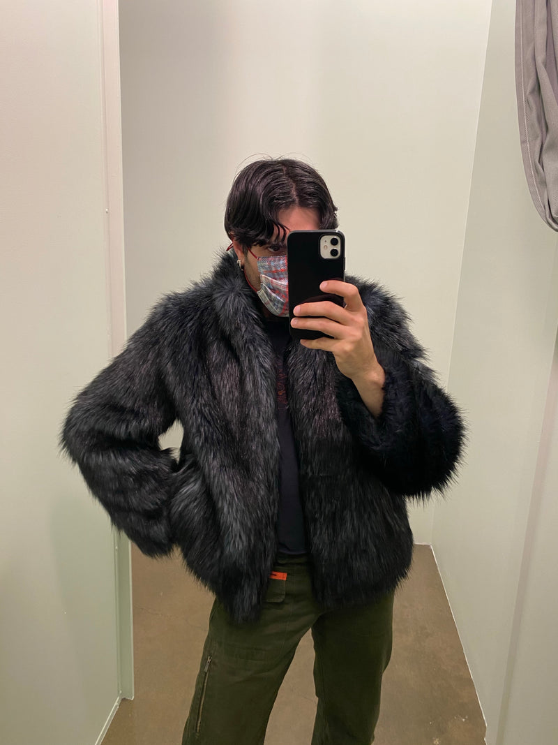 Dark Blue Faux Furr Jacket