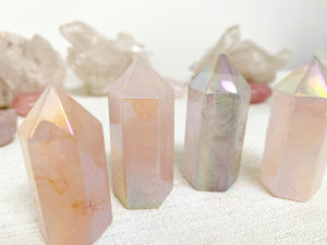 Load image into Gallery viewer, Rose Aura Quartz Points (small)
