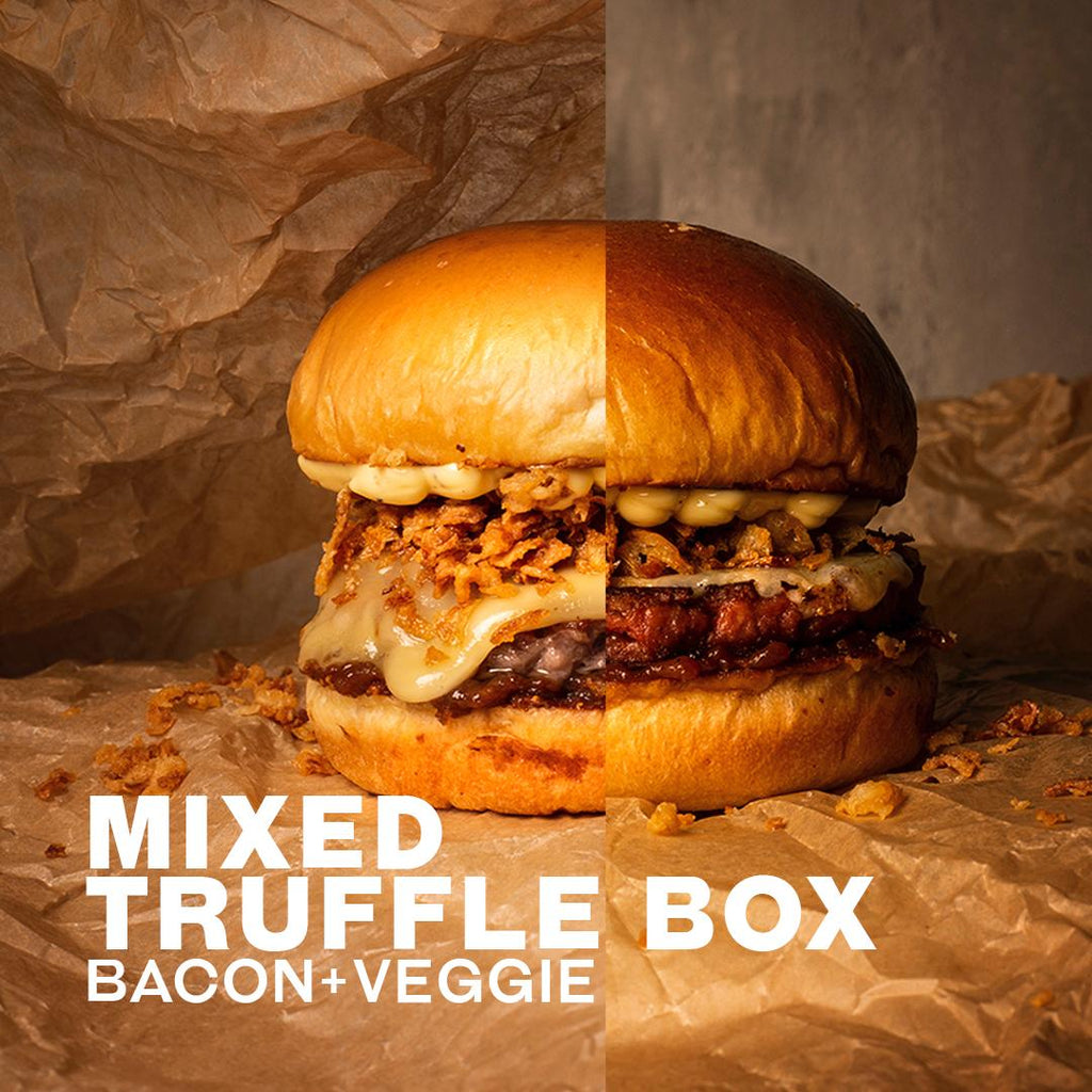 04. Truffle Burger Mixed Meal Kit - 2 Beef & Bacon + 2 Beyond Meat Patties (V)
