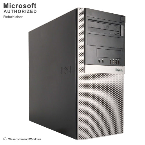 A front left side view of a Dell Optiplex 980 Tower - i7-860 2.80GHz | 8GB-16GB DDR4 RAM | 256GB SSD - 2TB HDD (REFURBISHED) desktop