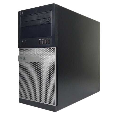 A front right side view of a Dell Optiplex 9010 Tower Desktop Computer - i5-3470 3.20 GHz | 16GB-32GB RAM | 256GB SATA - 1TB SSD | GT1030 2GB (REFURBISHED) desktop