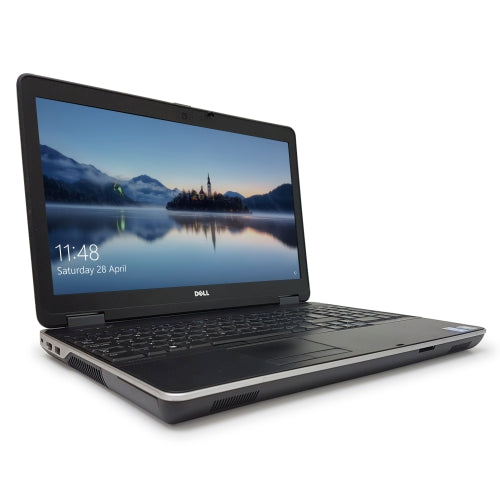A front left side view of a Dell Latitude E6540 - i7-4800MQ 2.7GHz | 8GB-16GB DDR4 RAM | 128GB SSD - 512GB SSD (REFURBISHED) laptop