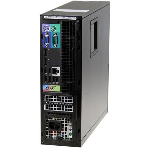 A back left side view of a Dell OptiPlex 7010 SFF Gaming PC - Core i7 3770 3.4GHz | 8GB-16GB RAM | 256GB SSD - 1TB SSD | GeForce GTX 1650 (REFURBISHED) desktop