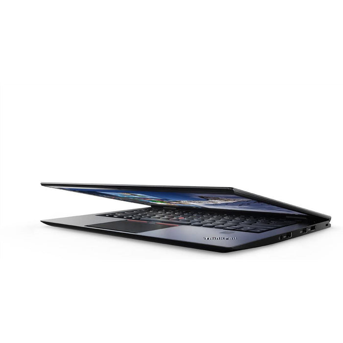 A front right side view of a Lenovo X1 Carbon G5 -i5 6300U 2.4ghz |8-16GB RAM | 128GB SSD - 256GB SSD - 512GB SSD (REFURBISHED) laptop
