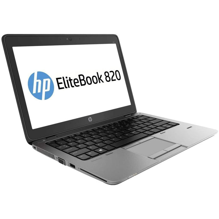 A front left side view of an HP EliteBook 820 G2 - i5-5300U 2.3GHz  | 8-16GB RAM | 25GB SSD - 512GB SSD (REFURBISHED) laptop