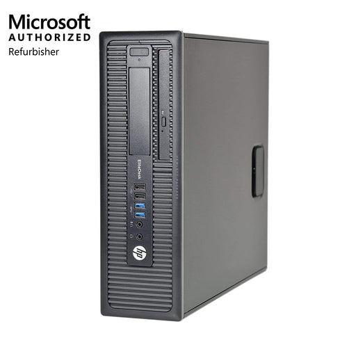 A front right side view of an Everyday Desktop Computers - HP EliteDesk 800 G1 SFF - Intel Core i5-4570 @ 3.2GHz, 4/8 GB RAM, USB WiFi, USB Keyboard & Mouse, Windows 10 Pro (REFURBISHED) desktop