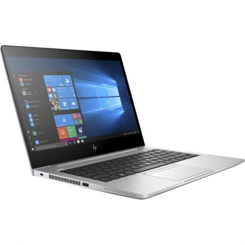 A front left side view of an HP EliteBook 830 G5 - I5-8350U 1.70ghz | 8-16GB RAM |  256GB SSD - 512GB SSD(REFURBISHED) laptop