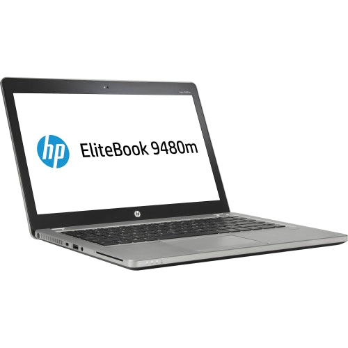 A front left side view of an HP EliteBook Folio 9480M - i5-4310U 2.00GHz | 8-16GB RAM | 256GB SSD - 512GB SSD (REFURBISHED) laptop