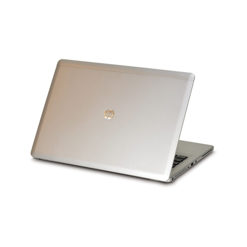 A back left side view of an HP EliteBook Folio 9480M - i5-4310U 2.00GHz | 8-16GB RAM | 256GB SSD - 512GB SSD (REFURBISHED) laptop