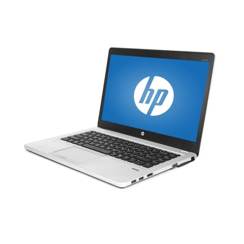 A front right side view of an HP EliteBook Folio 9480M - i5-4310U 2.00GHz | 8-16GB RAM | 256GB SSD - 512GB SSD (REFURBISHED) laptop