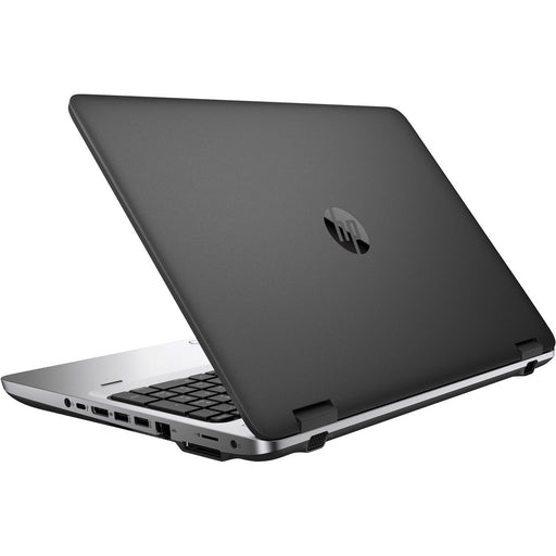 A back right side view of an HP ProBook 650 G2 - I5-6300U 2.40GHz | 8-16GB RAM | 500GB SATA - 256GB SSD (REFURBISHED) laptop