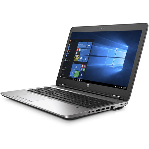 A front right side view of an HP ProBook 650 G2 - I5-6300U 2.40GHz | 8-16GB RAM | 500GB SATA - 256GB SSD (REFURBISHED) laptop