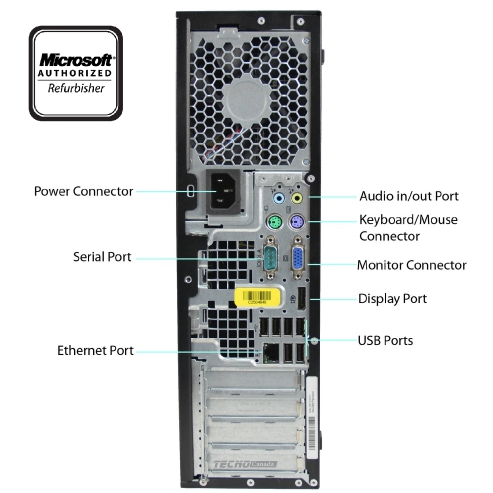 A back view of an HP EliteDesk 8300 SFF - i5-3570 CPU @ 3.40GHz | 8GB-16GB RAM | 1TB SATA - 240GB SSD (REFURBISHED) desktop