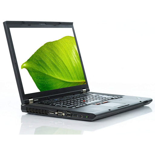 A front left side view of a Lenovo Thinkpad T510 -i5-520M 2.4GHz |8-16GB RAM | 128GB SSD - 256GB SSD - 512GB SSD (REFURBISHED) laptop
