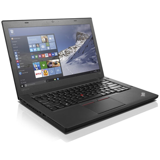 A front left side view of a Lenovo Thinkpad T460 - I5-6300U 2.40GHz | 8GB-16GB RAM | 500GB SATA - 256 SSD (REFURBISHED) laptop