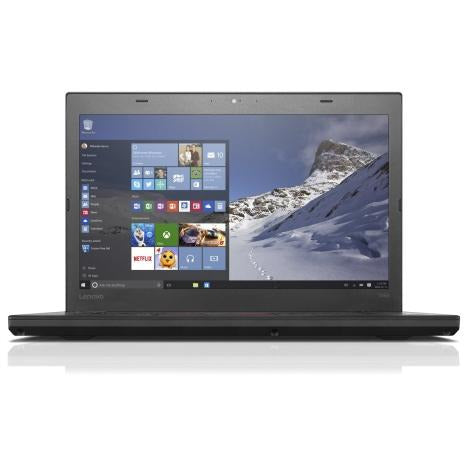 A front view of a Lenovo Thinkpad T460 - i7-6600U 2.6GHz | 8-16GB RAM | 128GB SSD - 256GB SSD - 512GB SSD (REFURBISHED) laptop