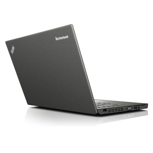A back left side view of a Lenovo X240- i5-4300U 1.90GHz | 8-16GB RAM | 256GB SSD - 512GB SSD  (REFURBISHED) laptop
