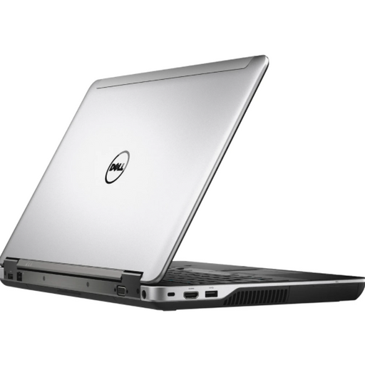 A back left side view of a Dell Latitude E6540 - i7-4810MQ | 8-16GB RAM | 256GB SSD - 512GB SSD  (REFURBISHED) laptop