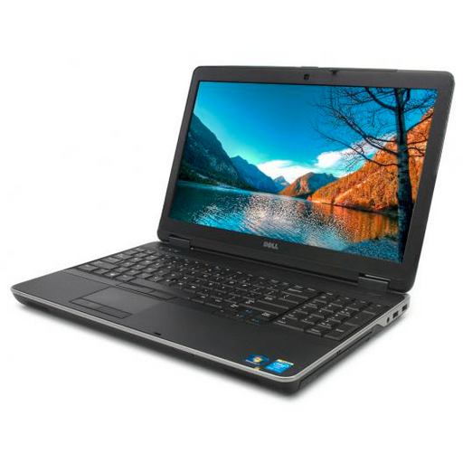 A front right side view of a Dell Latitude E6540 - i7-4810MQ | 8-16GB RAM | 256GB SSD - 512GB SSD  (REFURBISHED) laptop
