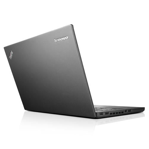 A back left side view of a Lenovo Thinkpad T450 - I5-5300U 2.30GHz | 8GB-16GB RAM | 512GB SSD - 1TB SSD (REFURBISHED) laptop