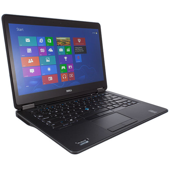 A front left side view of a Dell Latitude e7470 - i7-6600U 2.6GHz | 8GB-16GB DDR4 RAM | 500GB SSD - 1TB SSD (REFURBISHED) laptop
