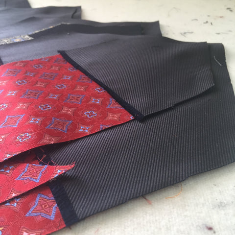 Unfinished Necktie Tips ready to be sewn