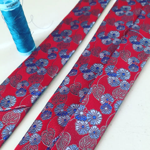 Custom Necktie made from silk being finished