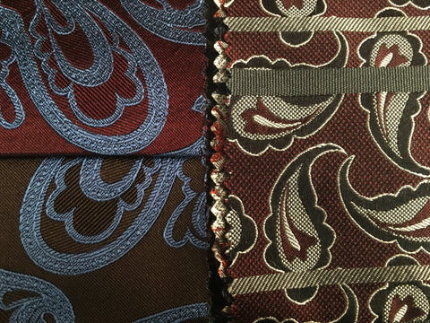 Woven silk Fabric Samples showing brown red blue and gray colors