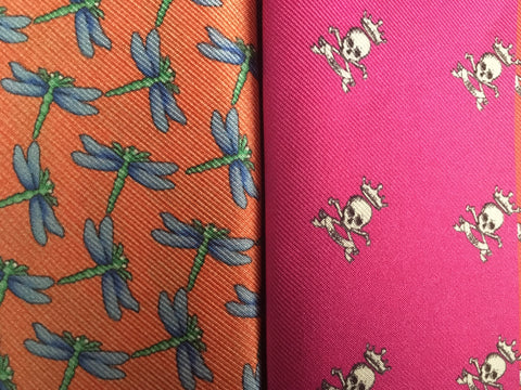 Bright Orange and pink Twill Silk Fabrics with dragonflies and skulls
