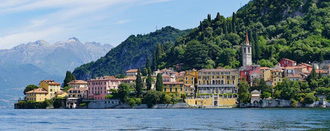 Stunning View Of Lake Como Buildings Shoreline