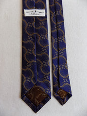 Navy Blue Vintage Style unlined Silk Tie RTW - Center Street Tie Makers