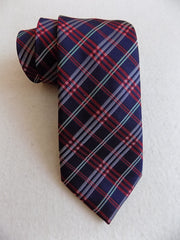 Navy Blue and Red Tartan Silk Tie RTW - Center Street Tie Makers