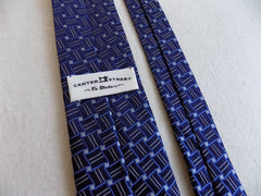 Navy Blue Geometric Silk Tie RTW - Center Street Tie Makers