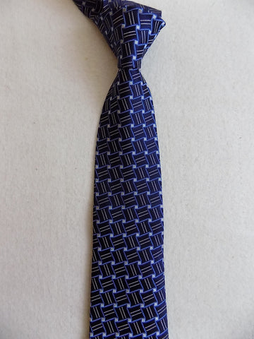 Navy Blue Geometric Silk Tie RTW