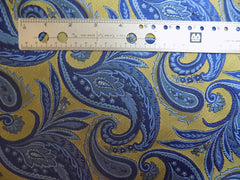 NEW! Gold/Blue Paisley Silk - Center Street Tie Makers