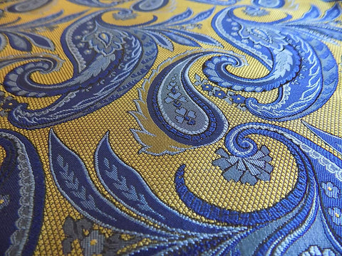 NEW! Gold/Blue Paisley Silk