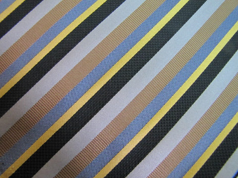 Brown, Black, Blue & Gold Stripe Silk