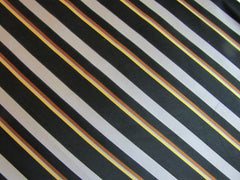 Black Silver Stripe Silk - Center Street Tie Makers