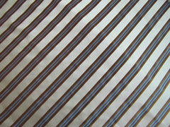 White, Brown and Blue Stripe - Center Street Tie Makers