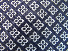 Navy Blue Diamond pattern woven silk fabric