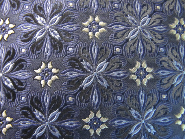 Gray / Blue Woven Silk Floral - Center Street Tie Makers