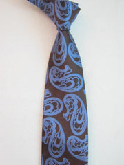 Brown with Large Blue Paisley - Center Street Tie Makers