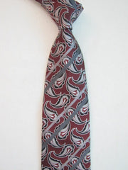 Red and Gray Paisley Stripes - Center Street Tie Makers
