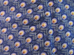 Blue & Gold Feather Pattern silk for bespoke tie