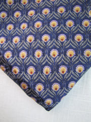 Navy blue feather pattern silk for custom necktie