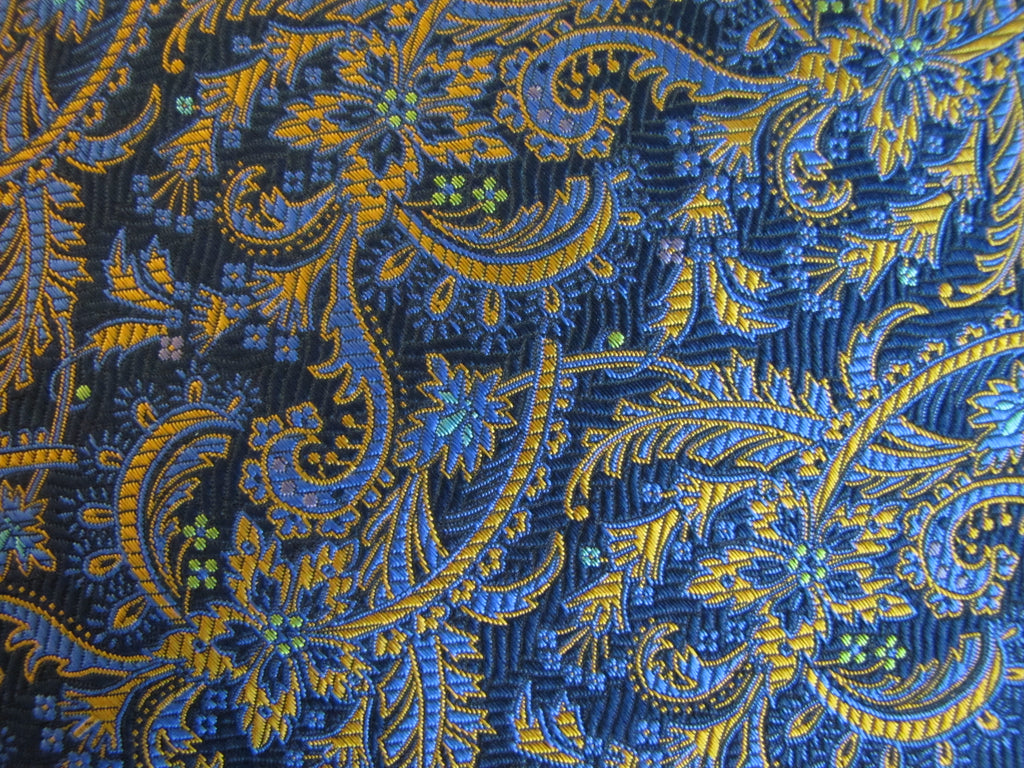 Blue and Gold Floral Silk - Center Street Tie Makers