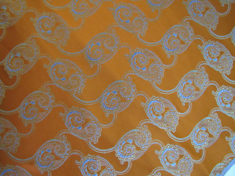 Bright Orange Silk with Blue Paisley