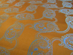 Bright Orange with Blue Paisley