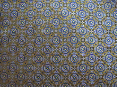 Bronze and Blue Geometric Silk Fabric